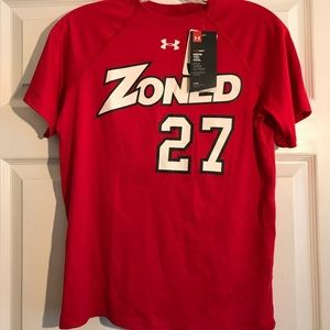 YL NWT red-white Unser Armour Shirt